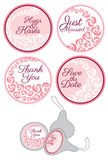 Candy Sticker Labels with rose set Royalty Free Stock Photos