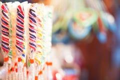 Candy sticks at German Christmas market Stock Image