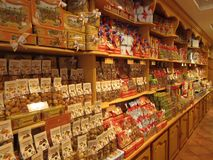Candy Store in Barcelona Spain stock images