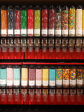 Candy Store. Colorful candy dispensers in a candy store royalty free stock photo
