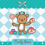 Candy store. Relax bear standing with candy vector illustration