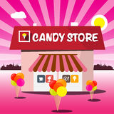 Candy Store Vector Pink Cartoon. Stock Photo
