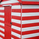 Candy striped beach chalet Stock Images