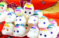 Candy Sugar Skulls per il giorno messicano dei morti Fotografia Stock Libera da Diritti