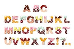 Candy sweet chocolate font. Ice cream alphabet. Wafer letters. Vector Royalty Free Stock Photo
