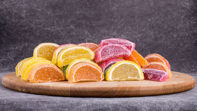 Candy. Sweet marmalade in the form of citrus slices royalty free stock image