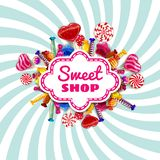 Candy Sweet Shop template set of different colors of candy, candy, sweets, chocolate candy, jelly beans with sprinkles. Candy Sweet Shop background set of royalty free illustration
