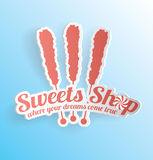 Candy Sweet Shop 3D Label Royalty Free Stock Images