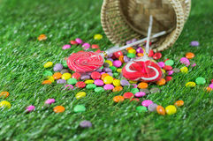 Candy sweet sugar green background Stock Image