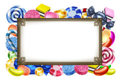 Candy Sweets Background Frame Sign. Classic candy sweets arranged in a frame background sign Stock Photo