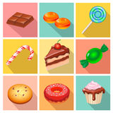 Candy, sweets and cakes icons poster Stock Photos