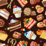 Candy, sweets and cakes vector seamless pattern Royalty Free Stock Photography