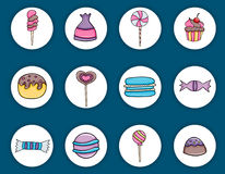 Candy and sweets cartoon doodle elements set. Royalty Free Stock Images