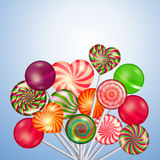 Candy, sweets, lollipops vector background. Candy, sweets, lollipops background. Food and candy, sugar dessert and color spiral, vector illustration Stock Photo