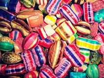 Candy and sweets in various colors Stock Photos
