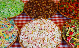 Candy sweets in wickerwork Stock Photo