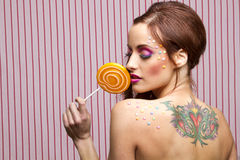 Candy, tattoo and lollipop Royalty Free Stock Photos