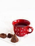 Candy with tea. On a napkin Stock Images