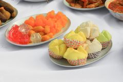 Candy thai cake yellow food in plate Stock Photography