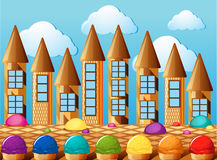 Candy towers and icecream with different flavors Royalty Free Stock Photo