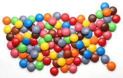 Candy USA. An outline map of the USA with candy on top of it royalty free stock image
