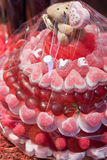 Candy valentine cake. Valentine cake with sweets and the word love Royalty Free Stock Photo