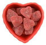 Candy. Valentine candy in heart shape bowl on white stock photo
