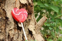 Candy valentines hearts on a background of wooden. Royalty Free Stock Photography