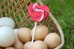 Candy valentines hearts and vintage easter eggs Royalty Free Stock Image