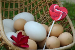 Candy valentines hearts and vintage easter eggs Royalty Free Stock Photos