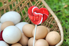 Candy valentines hearts and vintage easter eggs Stock Photo
