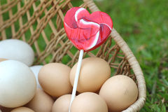 Candy valentines hearts and vintage easter eggs Royalty Free Stock Photo