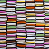 Candy variety. With colourful liquorice sweets neatly organized in a square, stacked pattern stock photos