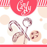 Candy vector card. Hand-drawn poster with calligraphic element. Art illustration.  Sweet icon Royalty Free Stock Images