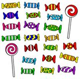 Candy. Vector illustration of many colorful candies and lollipops royalty free illustration