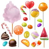Candy vector sweet food dessert lollipop or caramel bonbon in confectionery or candyshop illustration set of candyfloss. And sweetie canesugar isolated on white Stock Photos