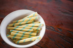 Candy wafer. In a white bowl Stock Images
