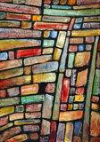 Candy wall, a painting. A painting baseed on a section od drystone wall Royalty Free Stock Photo