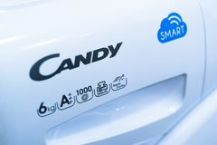 Candy - washing machine. CANDY, HAVIROV, CZECH REPUBLIC, SEPTEMBER 22, 2017: Washing machine with logo of Candy company, producer of household / domestic Royalty Free Stock Photos