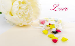 Candy with a white flower laid Royalty Free Stock Images