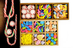 Candy in wooden box Royalty Free Stock Images