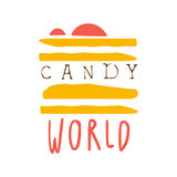 Candy world logo. Colorful hand drawn label Royalty Free Stock Photography