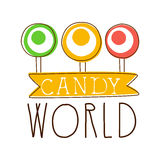 Candy world logo. Sweet bakery emblem. Colorful hand drawn label Royalty Free Stock Photos