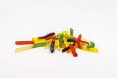 Candy Worms. Tasty, colourful sweets Worms on a white background stock images