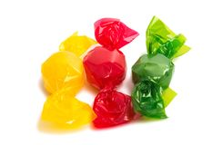Candy in wrapper. On white background Stock Photos