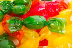 Candy in wrapper. On white background Stock Photo