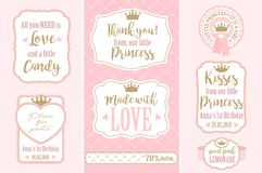 Set of  vintage frames. Templates gift tags for royal party wedding, baby and bridal shower, birthday. Candy wrappers, stickers, labels for little princess sweet Royalty Free Stock Photo