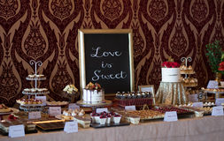 Candybar with all kind of cakes. Stock Photo