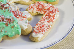 Candycane iced sugar cookie Stock Photos
