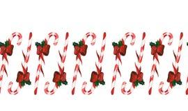 Candycane-Weihnachtsnahtlose Dekoration Lizenzfreies Stockfoto
